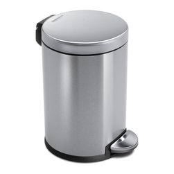 simplehuman - 4.5 Litre Round Step Can, Fingerprint-Proof Brushed Stainless Steel - With its small size and durable construction, this 4-1/2-liter trash can is perfect for your bathroom or home office. The easy-to-find pedal opens the top automatically for hands-free operation, and the removable inner bucket makes trash disposal neat and easy.