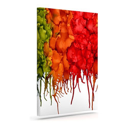 """Kess InHouse - Claire Day """"Fall Splatter"""" Wrapped Art Canvas (20"""" x 16"""") - Bring your outdoor patio to life with this artistic outdoor canvas wrap featuring gorgeous artwork by KESS InHouse. These canvases are not only easy to hang and remove but also are the perfect addition to your patio collection. These canvases are stretched around a wooden frame and are built to withstand the elements and still look artistically fabulous. Decorating your patio and walls with these prints will add the splash of art and color that is needed to bring your patio collection together! With so many size options and artwork to choose from, there is no way to go wrong with these KESS Canvas Wraps!"""