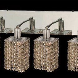 Elegant Lighting - Mini Square Chrome Four-Light Bath Fixture with Royal Cut Golden Teak Smoky Crys - Royal Cut crystal is a combination of high quality lead free machine cut and machine polished crystals and full-lead machined-cut crystals to meet a desirable showmanship of an authentic crystal light fixture.  -Recommended to be professionally hung and supported independently of the outlet box. Consult an electrician for guidance to determine the correct hanging procedure.  -Crystals may ship separately and some assembly is required.  -Depending on the size & design the assembly can be time consuming, but is well worth the effort. Elegant Lighting - 1284W-O-S-GT/RC