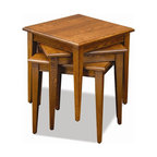 Leick Furniture - Favorite Finds Stacking Table - Set of 3 - Set of 3. Solid wood top. Stacks compactly into a small space. Quickly arrays to nearly 7 sq. ft. of additional serving space. Minimal assembly required. Made of solid Ash. 18 in. W x 18 in. D x 18 in. HThis three table set stacks compactly into a small space when stored but quickly arrays to nearly seven square feet of additional serving space when needed. All solid wood construction means they are built to hold up and meant to be used. All three tables can be arranged side by side to function as a compact coffee table or used to hold coasters and servings trays when stacked.