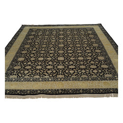 8'x10' 300 kpsi Wool and Silk Black Kashan Oriental Rug Hand Knotted Sh18639 - The first way one normally finds silk in a rug is as a ���highlight� or ���silk touch�. This will be seen in very high knot count traditional rugs typically. The silk is used in very small amounts throughout the design to highlight, add an extra dimension, and/or pop to the design. The second way silk is incorporated into a wool rug sometimes is when an entire element of a rug or color is done in silk. This is seen in both modern as well as traditional rugs. A design element, for instance a flower or bird, could be entirely carved out in silk within the rug. This design sometimes will also be depressed or raised (have a higher and lower pile) besides being done in silk so it will stand out even more within the rug.