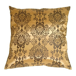 Pillow Decor - Pillow Decor - Gold with Brown Baroque Pattern Throw Pillow - The classic baroque pattern on this elegant throw pillow gives it stunning elegance. Layered behind its smaller baroque scroll counterpart, it will provide a sophisticated finishing touch to any room.