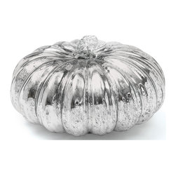 Go Home - Go Home Vintage Gourd - Decorate your room with this exclusive pumpkin shaped Vintage Gourd jar. This glass jar exhibits an Antique Silver finish to provide it an admiring look. It will enhance the beauty of the place where it is placed.