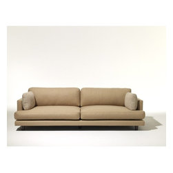 Knoll - D'Urso Residential Sofa - Features: -Back cushions are constructed with a soft polyurethane foam core and polyester fiber batting.-Features:Constructed of plywood with sinuous spring seat suspension and matrix back suspension.-Features:Seat cushions are constructed of highly resilient polyurethane foam and polyester fiber, wrapped in polyester fiber batting.-Collection: D'Urso.-Distressed: No.-Country of Manufacture: United States.Dimensions: -Legs are 4'' high and available in polished chrome with black nylon glides.-Seat height: 15.38''.-Dimensions: 28.5'' H x 90'' W x 40.5'' D.-Overall Product Weight: 151 lbs.