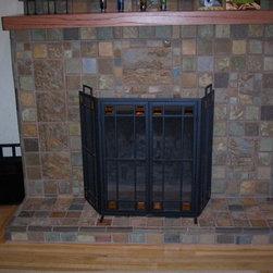 Tiled fireplace surround: matte glazed - stony matte glazed fireplace: mantel face and hearth. design and tile by Stephani Stephenson, Revival Arts Studio / Revivaltileworks.