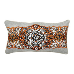 Villa Home - Pair of Armory Sienna Brown Pillows by Villa Home - A wide belt of embroidery spans across a linen herringbone pillow. Black, ivory and sienna artistically mingle for a Bohemian feel. Front two pillow shams in a dark gray palate and an coordinating throw across the foot of the bed. (VH)