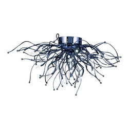 ET2 lighting - ET2 Lighting E24470-PC Orion 28-Light LED Flush Mount in Polished Chrome - Spiraling tentacles of Polished Chrome metal create lighting works of art. LED bulbs grace the end of many of these emitting light and sparkle. These LED bulbs are long life and easily replaceable.