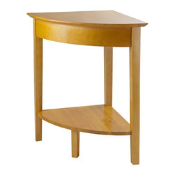 Winsome Wood - Winsome Wood Studio Corner Table with Honey Finish X-02399 - This classic corner table elegantly connects other Studio Home Office desks into an L-shaped arrangement. It also provides extra desk space and has a lower shelf for additional storage. The Honey Pine finish gives it a polished and sleek look.