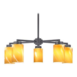 Design Classics Lighting - Black 5-Light Modern Chandelier with Brown Art Glass - 590-07 GL1022C - Contemporary / modern matte black 5-light chandelier with cylinder glass shades. Includes one 6-inch and three 12-inch down rods that allow this chandelier to hang at a minimum height of 17-3/4-inches up to a maximum of 53-1/8-inches. Takes (5) 100-watt incandescent A19 bulb(s). Bulb(s) sold separately. UL listed. Dry location rated.