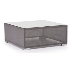 ZUO VIVA - Clear Water Bay Table Gray - Versatile and durable, the Clear Water Outdoor series will transform any outdoor setting. The frame is aluminum with a textile weave outer covering. Glass top is 10mm and is tempered for durability.