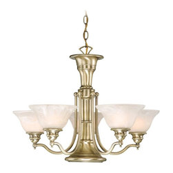 Vaxcel - Six Light Up Down Lighting Chandelier - Antique Brass - Bulb Base: Medium (E26). Bulb Count: 6. Bulbs Not Included