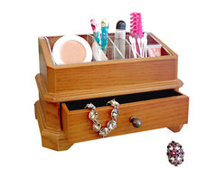 "Proman Products - Proman Products Bellissimo Rome Cosmetic Organizer in Oak - Bellissimo collection, rome cosmetic organizer with a single Pull out drawer and a clear grid organizer. 6 1/2"" d x 10"" w x 6 1/4 h"