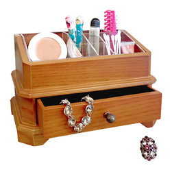 """Proman Products - Proman Products Bellissimo Rome Cosmetic Organizer in Oak - Bellissimo collection, rome cosmetic organizer with a single Pull out drawer and a clear grid organizer. 6 1/2"""" d x 10"""" w x 6 1/4 h"""