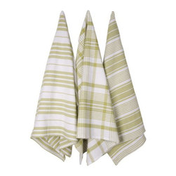 Olive Striped Kitchen Towels - Set of 3 - With summer feasts comes an influx of dishes to dry and spills to clean up. Dry and clean in style with these jumbo kitchen towels. Hand-woven in India, the set includes three towels, each boasting a different striped design.