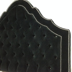 Black Velvet Tufted Headboard, Nickel Nailheads by New Again Upholstery - Rest in peace beneath this velvet tufted headboard.