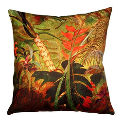 Pillow Decor - Pillow Decor - Exotic Flowers 20 x 20 Throw Pillow - Peer into the deep green jungle foliage of the Exotic Flowers Throw Pillow. A perfect accent pillow for any space needing a splash of tropical color. The image is a reproduction from a Sandra Forzani original painting and is available exclusively through Pillow Decor. Made from a beautifully soft indoor/outdoor fabric with a linen-like woven finish. Enjoy this pillow indoors and outdoors.