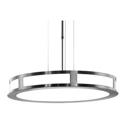 Estiluz - T-2259 Suspension by Estiluz - The T-2259 Suspension provides general ambient light and features height adjustability and a Brushed Nickel finish with Opal White Satin glass diffuser.Estiluz, established in 1969, is a contemporary lighting company based in a small Spanish town just outside of Barcelona. Using state-of-the-art production techniques, Estiluz has always focused most on the quality, functionality and accessibility of their decorative architectural lighting designs.One 300 Watt 120 Volt T-3 R7s Halogen lamp (included). UL listed. Designed by Leonardo Marelli.  Made in Spain.Shipping:This item usually ships within 3 to 5 business days.Dimensions:Diffuser: Diameter 20.1 in., Height 2.8 in.Fixture: Length  adjustable from 20.9 in. to 41.6 in.