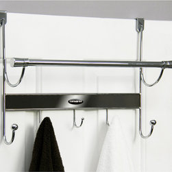 Samsonite - Samsonite Chrome/ Onyx 5-hook Over The Door Hanger and Towel Bar - Organize the chaos with this charming,five-hook over the door hanger and towel bar from Samsonite. This functional storage solution offers a durable stainless steel construction with a chrome and onyx finish,and an easy access design.
