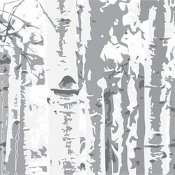 Murals Your Way - Birch Trees - Grey Wall Art - Painted by Estela  Lugo, the Birch Trees - Grey wall mural from Murals Your Way will add a distinctive touch to any room