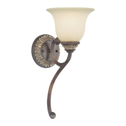 Dolan Designs Lighting - Sconce with Caramelized Glass - 2646-211 - Traditional decorative accents abound in this decorative sconce. The Yuma finish is multi-toned and accented beautifully by the caramelized glass. Takes (1) 60-watt incandescent A19 bulb(s). Bulb(s) sold separately. UL listed. Dry location rated.