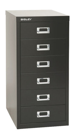 Empire Office Solutions - Bisley 6-Drawer Under Desk Multi-Drawer Cabinet in Black Steel - The aptly-named Bisley multi drawer under-desk steel cabinet features six deep drawers to organize paper, forms, art supplies, crafts, scrapbooking tools and other items. The drawers pull out fully, offering easy access to drawer contents. The durable steel cabinet is sized to fit under a desk or counter. Accented with attractive chrome pull handles and built-in label holders, this compact storage cabinet looks great at the office, workshop, garage or home. Enhance with Bisley multi drawer inserts to neatly store pens, paper clips, thumb tacks and other small items. This under-desk cabinet is finished in long lasting powder coated paint that won't chip or rust.