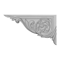 "Ekena Millwork - 11""W x 6 1/4""H x 5/8""D Vincent Stair Bracket, Left - With the beauty of original and historical styles, decorative stair brackets add the finishing touch to stair systems.  Manufactured from a high density urethane foam, they hold the same type of density and detail as traditional plaster stair bracket products.  They come factory primed and can be easily installed using standard finishing nails and/or polyurethane construction adhesive."