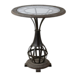 Uttermost - Honi Glass Accent Table - Accent tables are meant to be noticed. And this one will be a star in your home. The antique metal clock is framed with weathered fir and the metal base pedestal sits on a fir foot. The clear tempered glass top adds resiliency so you'll enjoy this table for years to come.