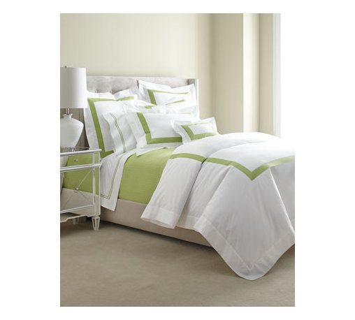 "SFERRA - SFERRA Two King Satin-Stitched Pillowcases - A sharp and modern bedding ensemble just right for any room. Sferra takes smooth white Egyptian cotton percale and adds a 2"" wide Egyptian cotton sateen band in your choice of colors. Duvet covers have the band on three sides; shams have the band on a..."