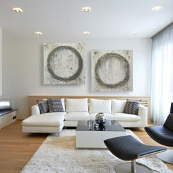Large Neutral Abstract Wall Art - Original Modern Circle Artwork - Set of (2) Two Neutral Toned Modern Abstract Art Circle Paintings. A perfect fit for any wall color!