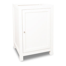 "Hardware Resources - 23-1/2"" Wide Solid Wood Vanity  VAN091-24 - This 23-1/2"" wide solid wood vanity features clean lines with a stepped door profile for a modern look.  The Cream White finish is soft to complement most decor, yet bold enough to make a statement.  The large cabinet has an adjustable shelf to provide ample storage and is fitted with integrated soft close hinges.   Overall Measurements: 23-1/2"" x 21-3/4"" x 35"" (measurements taken from the widest point) Finish: Cream White Material: Wood Style: Transitional Coordinating Mirror(s): MIR091-24, MIR091-30 Bowl: H8809WH Coordinating Hardware: 3915-SN"