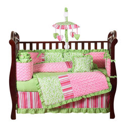 Sweet Jojo Designs - Olivia 9-Piece Crib Bedding Set - The Olivia 9 pc Crib Bedding Set by Sweet Jojo Designs has all that your little bundle of joy will need. Let the little one in your home settle down to sleep in this incredible nursery set. This baby girl bedding set features exclusive Sweet Jojo Designs 100% cotton prints, including a green and white scroll print, a bold designer stripe and mini polka dot print. It also boasts an incredibly soft minky swirl chenille. This collection uses the stylish colors of pink, green and white. The design uses 100% cotton fabrics combined with soft chenille fabrics that are machine washable for easy care.  This wonderful set will fit all cribs and toddler beds.