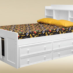 Kids Bed - Are you looking for a twin-size captains bed? The Jackson bead board captains bed is the answer. This unique bed features a storage headboard for displaying items. This kids captains bed is crafted with solid hardwood and bead board panel in various finish. Other features include metal-to-metal connection for durability, kilns dried wood, full rolls of under bed slats. Optional 4 under bed drawers or twin size combo trundle with 3 drawers are available under product options.