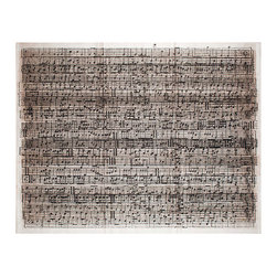 Kathy Kuo Home - Layered Sheet Music Cacophony Wall Art - Unframed - Music to your ears (and your wall), this untamed version of musical notes will energize your space with a look that's traditional and contemporary. Perfect for anyone, but especially musicians or music lovers in general.