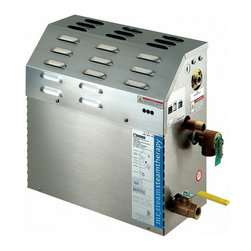 Mr. Steam - eTEMPO MS400E 9kw 240v Steambath Generator (1 Phase) - Choose Generator: 1 Phase. Single operating platform does it all form the most basic installation to the most elaborate. Easy to add plug & play spa therapy accessories. Can be installed up to 60 feet away. Exclusive microprocessor operating system. Precision temperature probe for optimal steam room temperature control. Removable & serviceable, industrial strength heating elements. Integrated time cutoff feature. C-UL-US listed. CE & NOM approved. Express Steam means you can be steaming in seconds. Includes a built-in thermostat to keep water in the generator tank warm enough to bring up steam quickly while still allowing water to be safely drained to code requirements. 240 Volt. Total room volume: 226-360. 9 KW. Amps 240: 38. Wire size: 8 gauge. Water usage in gallons: 1.2 (Based on 20 minutes of operation). 14.5 in. L x 6.75 in. W x 14.75 in. H