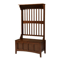 Linon - Hall Tree With Storage Bench - Dimensions: 18 x 36 x 64 inches
