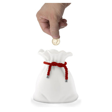 j-me designs - Loot Money Coin Bank, Red Cord - The Loot Money Bag Coin Bank adds a twist to saving your coins. Made from ceramic the Loot Money Bag stands upright just waiting to be filled with all your precious loot. When you need to access your cash simply pour it out.  We're sure you'll be swimming in gold coins in no time. The Loot Money Bag Coin Bank is available with a Red or Black cord.