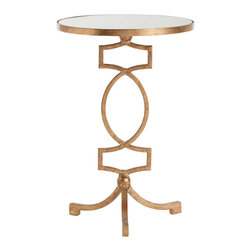 Kathy Kuo Home - Cooper Gold Leaf Hollywood Regency Mirror Accent Side Table - Gleaming antique mirror and gold construction make this round accent table a luxurious stand out, while the open, ornamental design of its iron base give it a decidedly royal European flair.  This table would work perfectly within your contemporary home or Hollywood regency décor - or, use as a bedside table to give your bedroom some instant elegance.