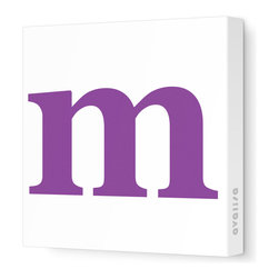 "Avalisa - Letter - Lower Case 'm'  Stretched Wall Art, 18"" x 18"", Purple - Spell it out loud. These lowercase letters on stretched canvas would look wonderful in a nursery touting your little one's name, but don't stop there; they could work most anywhere in the home you'd like to add some playful text to the walls. Mix and match colors for a truly fun feel or stick to one color for a more uniform look."