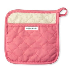 Pot Holder, Pink - Think pink! Add a splash of pastel pink to your kitchen with new oven mitts hanging by the stove.