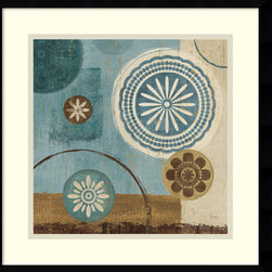 Amanti Art - New Generation Blue III Framed Print by Veronique Charron - In this striking abstract art print, Veronique Charron skillfully marries contrasts; dark hues with light and nature inspired imagery with geometric shapes.
