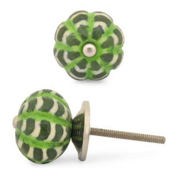 "Knobco - Melon Knob, Green, Lime Green And White Zig-Zag - Green, Lime Green and White Zig-Zag Melon knob. Unique, hand painted cabinet knobs for your kitchen cabinets. 1.2"" in   diameter. Includes screws for installation."