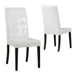 Modus Furniture International - Urban Seating Tufted Parsons Chairs in White Leatherette (set of two) - We created the Urban Seating collection to provide stylish, affordable seating and storage options throughout the home. Great around a table, in a foyer, a game room or a den, chairs are engineered for easy assembly using durable 9 bolt grooved corner block construction and feature web seat cushions for extra comfort. Storage cubes and benches ship fully assembled and feature padded tops, upholstered interiors and built-in wood serving trays. The cubes and benches are a smart accent to any room of the house and are great for storing bed linens, shoes, toys, magazines, gaming accessories and other household clutter. All Urban Seating products are available in a supple leatherette that's durable, stylish and easy to clean.