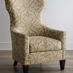"Horchow - Emma Wing Chair - The classic wing chair reinvented—this one features shorten ""wings"" for a refined hourglass appearance and tone-on-tone damask upholstery. Distinctive nailhead trim defines the frame. Frame made of Peruvian oak and select hardwoods. Vala hemp uph..."