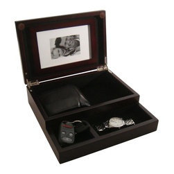 Proman Products - Royal Dresser Valet - Black lining interior and trays. Removable magnetic picture frame. Trays for keys and loose change. Storage space for wallet and cellphone. No assembly required. Picture holder to store your memorable moment. Compact size to fit any dresser and or nightstand. Nickel plated hinges. Mahogany finish. 9 in. W x 9 in. D x 2.75 in. HStay organized in a stylish way with this beautiful dresser valet. It's perfect to hold your watch, loose change, keys, and wallet.