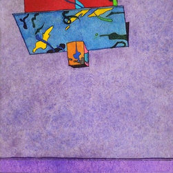 Upside Down, Limited Edition, Hand Printed Work - This image is a hand colored etching (intaglio).