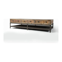 Four Hands - Campbell Coffee Table - Form and function combine beautifully in this coffee table — the perfect piece for your favorite eclectic setting. Made from reclaimed pine and aged iron, it's eye-catching yet sleek enough to fit seamlessly into any setting.