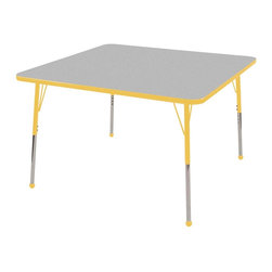 "Ecr4kids - Ecr4Kids Kids Classroom Adj. Activity Table - Square 48"" X 48"" Glide Yellow - Table tops feature stain-resistant and easy to clean laminate on both sides. Adjustable legs available in 3 different size ranges: Standard (19""-30""), Toddler (15""-23""), Chunky (15""-24""). Specify edge banding and leg color. Specify leg type."