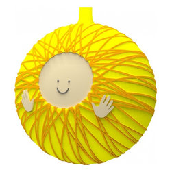 """Alessi - Alessi """"Ges Bambino"""" Christmas Bauble - You'll be walking on sunshine, baby, with this fun ornament. It's made from blown glass in sunny yellow and features golden rays and a happy face with hands. Hang it on your Christmas tree — or in the nursery to celebrate the sunshine of your life."""