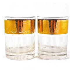 "Adonis Collection | Vintage pinstripe & gold rocks glasses - Mix and match your glassware and buy one or more pairs of these delightful vintage pieces!  Pair of two vintage rocks glasses with a white pinstripe decoration and gold tone band with an intricate decoration, visible inside and out.  3.25"" across by 4.12"" high. Fine condition, some patina wear from usage."