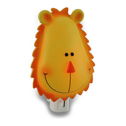 Childrens Orange and Yellow Lion Head Night Light - This yellow and orange lion head night light adds an adorable accent to your child`s room, while providing just enough light to ease their mind in the dark nighttime hours. Made from cold cast resin, this decorative doll measures 5 inches high, 3.5 inches wide, and 2.5 inches deep (13 X 9 X 6 cm) with a 360 degree swivel plug to accommodate any outlet, and it uses a 7 watt (max) type C night light style bulb (included). The light has an on/off switch on the front, and is recommended for children ages 8 and up.